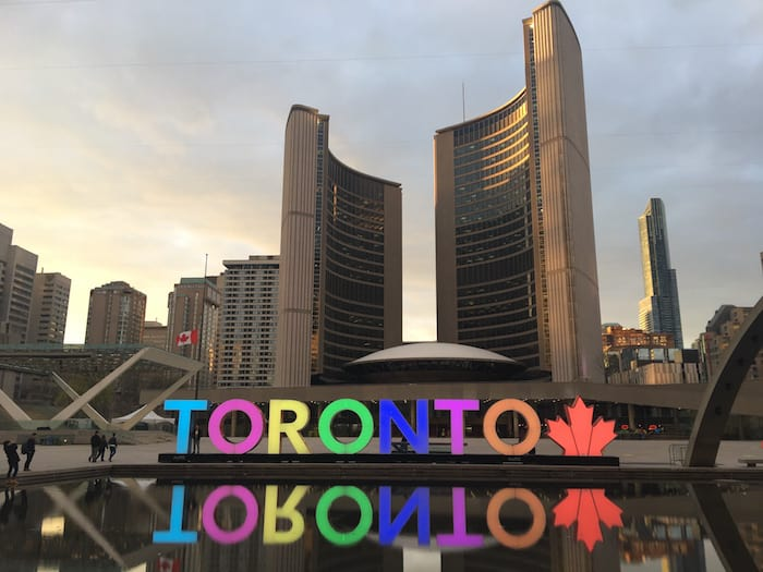Nathan Phillips Square forms the forecourt to Toronto City Hall, or New City Hall